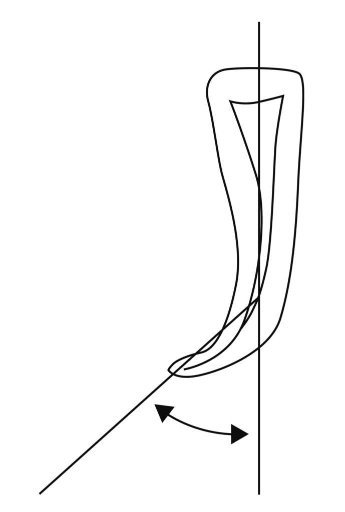 Рис. 1. Схема измерения кривизны корневого канала по методу Шнейдера.