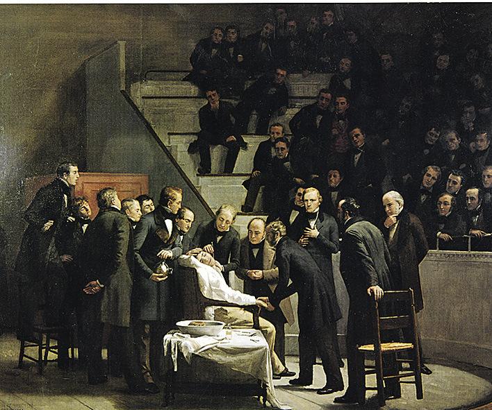 Рис. 2. Robert Cutler Hinckley. Первая операция под эфиром, 1893. Холст, масло, 8' х 10'.