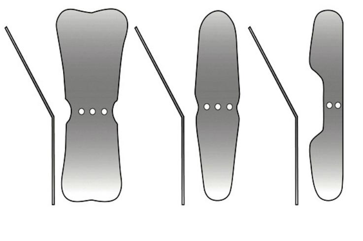 Рис. 4: а — зеркало для фотографирования окклюзионной поверхности зубов; б — зеркало для фотографирования боковых групп зубов; в — зеркало для фотографирования язычной и небной поверхности зубов.