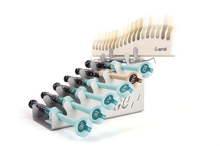 Рис. 8. Реставрационный композит GC G-aenial и оттеночная шкала.