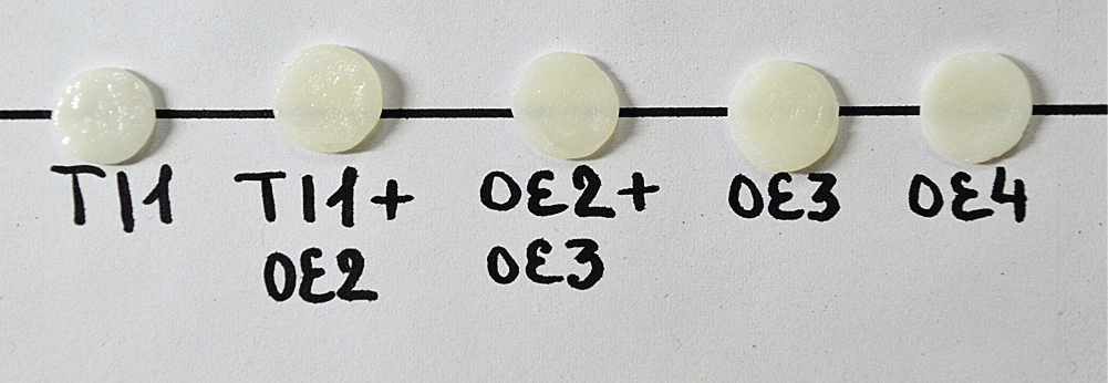 Рис. 2. Шкала оттенков белой эмали.