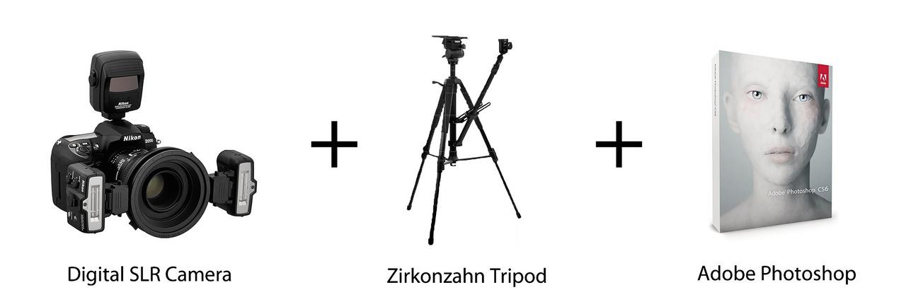 Рис. 3. Зеркальная цифровая фотокамера, штатив Zirkonzahn и Adobe Photoshop.