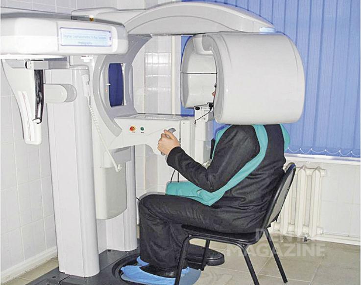 Рис. 2. Проведение компьютерно-томографического исследования.